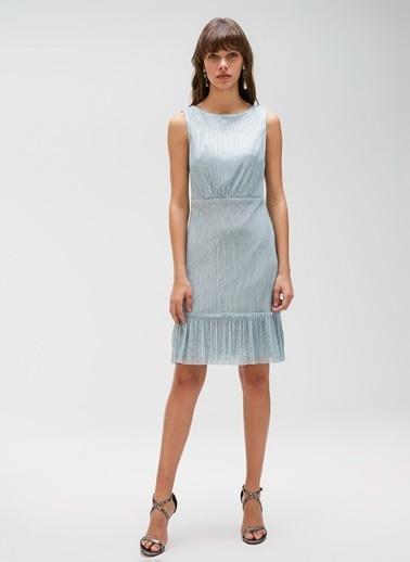 People By Fabrika Volan Detaylı Kemerli Elbise Gri